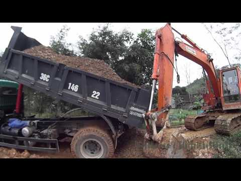 See excavators, dump trucks working-Xem máy xúc xe ben làm việc-Giải trí cho bé yêu