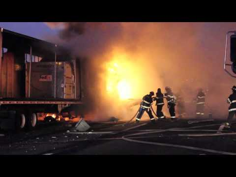 FedEx truck bursts into flames on NJ highway