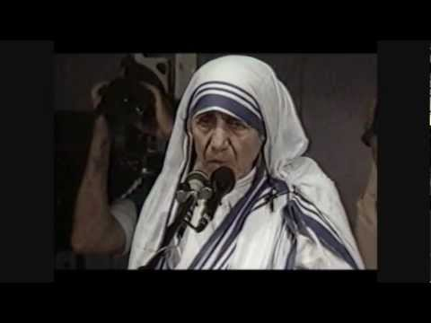 MADRE TERESA di Calcutta: L'Aborto è il più Grande Distruttore dell'Amore e della Pace!