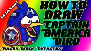 How To Draw Captain America Bird From Angry Birds Avengers