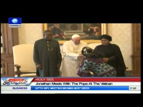 President Jonathan Meets With Pope Francis I At The Vatican
