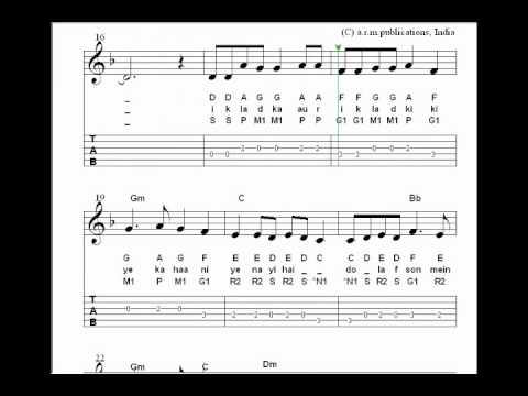 Bollywood Sheet Music of teri meri meri teri.wmv - YouTube