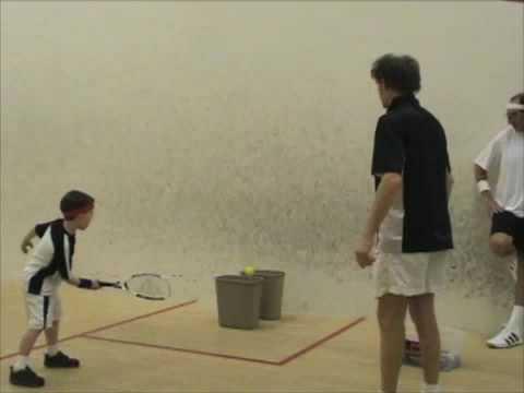 Kids Squash Training: Bucket as a target drills