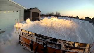CHEVY HD MEYER PLOW PLOWING FROZEN SNOW