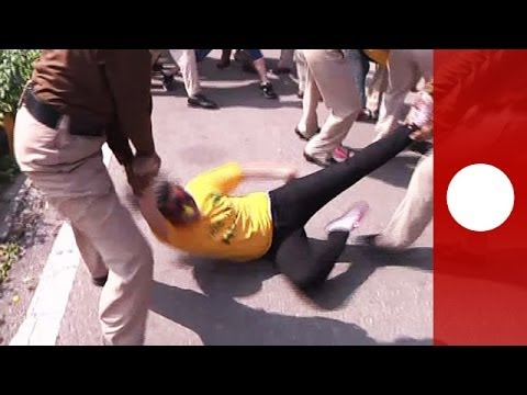 Tibetan women fight with police after protesting at Chinese embassy in New Delhi