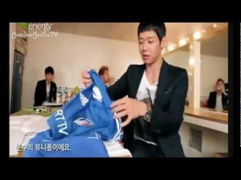 "YooSu moment #49 ""Junsu's sweaty uniform"", oh yoosu~ hahah"