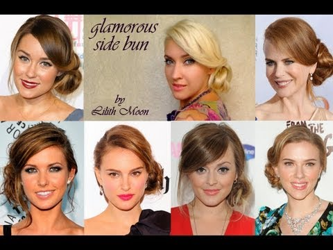 Glamorous celebrity updo hairstyle for long hair Wedding prom homecoming side bun tutorial