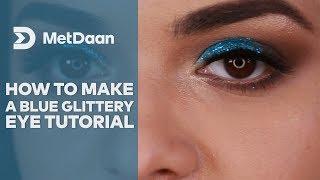 Maquillaje de ojos en azul glamouroso