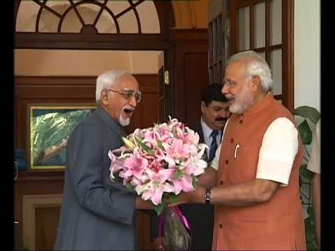 PM Narendra Modi called on the VP Hamid Ansari