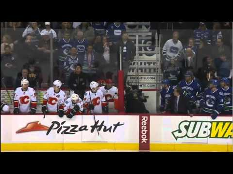 Line brawl 5 min ver. Calgary Flames vs Vancouver Canucks 1/18/14 NHL Hockey.