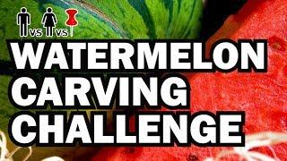 Watermelon Carving Challenge - Man Vs Corinne Vs Pin