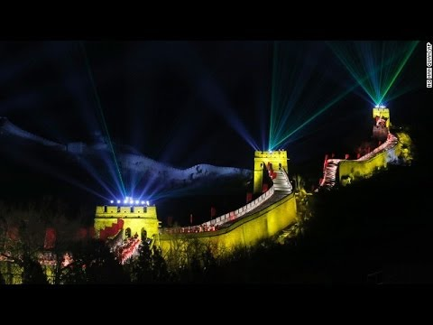 Great Wall Lights Up as Chinese Celebrate New Year 2014