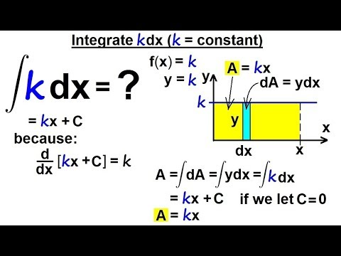 Calculus 2: How Do You Integrate? (2 of 300) Integral of kdx (k=constant)