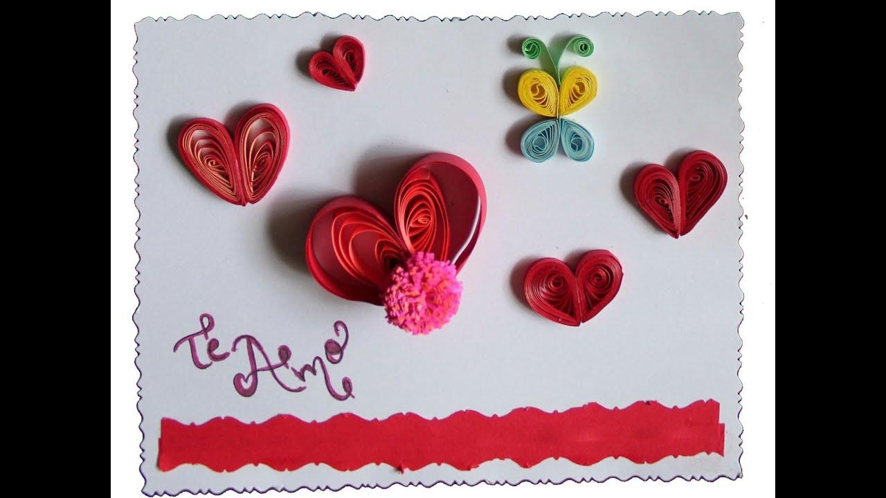 Tarjeteria en filigramas quilling corazon para enamorar - Youtube manualidades para el hogar ...