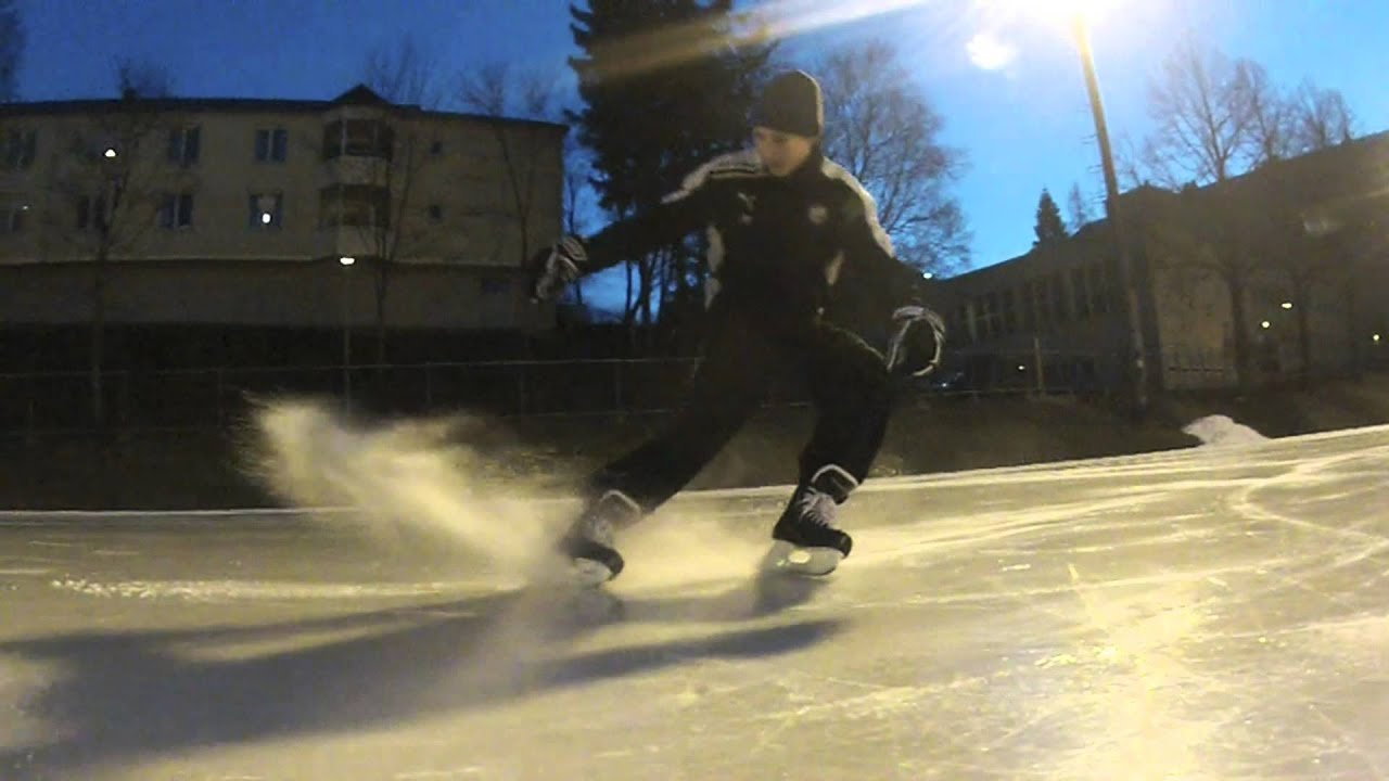Ice hockey stop slow motion - YouTube