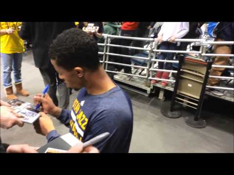 MICHIGAN WOLVERINES UTAH JAZZ *TREY BURKE* PROMISES & SIGNING AUTOGRAPHS FOR FANS! (3-3-14)
