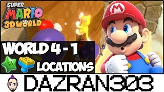 SUPER MARIO 3D WORLD | World 4-1 Green Stars & Stamp Locations | Gameplay/Commentary Dazran303 [HD]