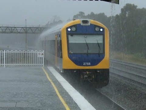 And the lord saith unto Noah...  Cityrail Railcar in heavy rain - Passenger Trains by PoathTV