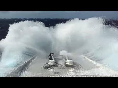 QE2 ship in rough seas
