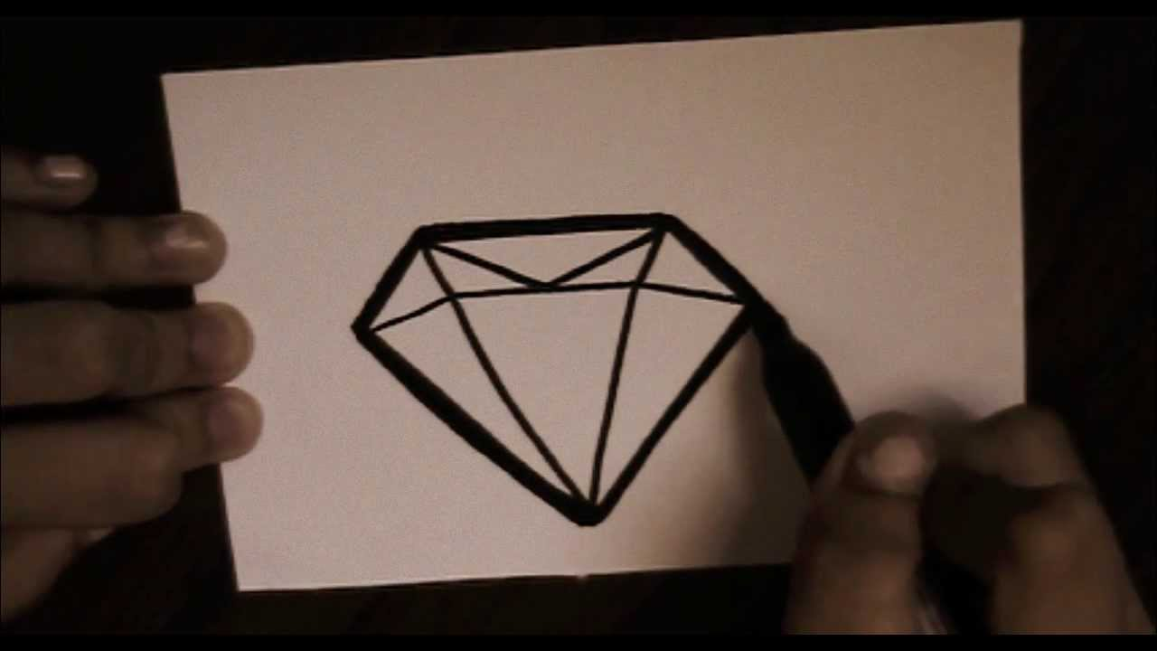 how to draw a diamond ring step by step