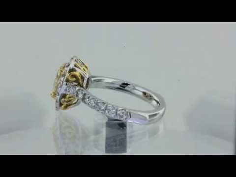 2.38 CARAT FANCY YELLOW CERTIFIED PEAR SHAPE DIAMOND ENGAGEMENT RING MICRO PAVE SET IN 18K GOLD