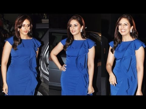 Hot Actress Huma Qureshi In Tight Blue Gown @ Filmfare Awards 2014