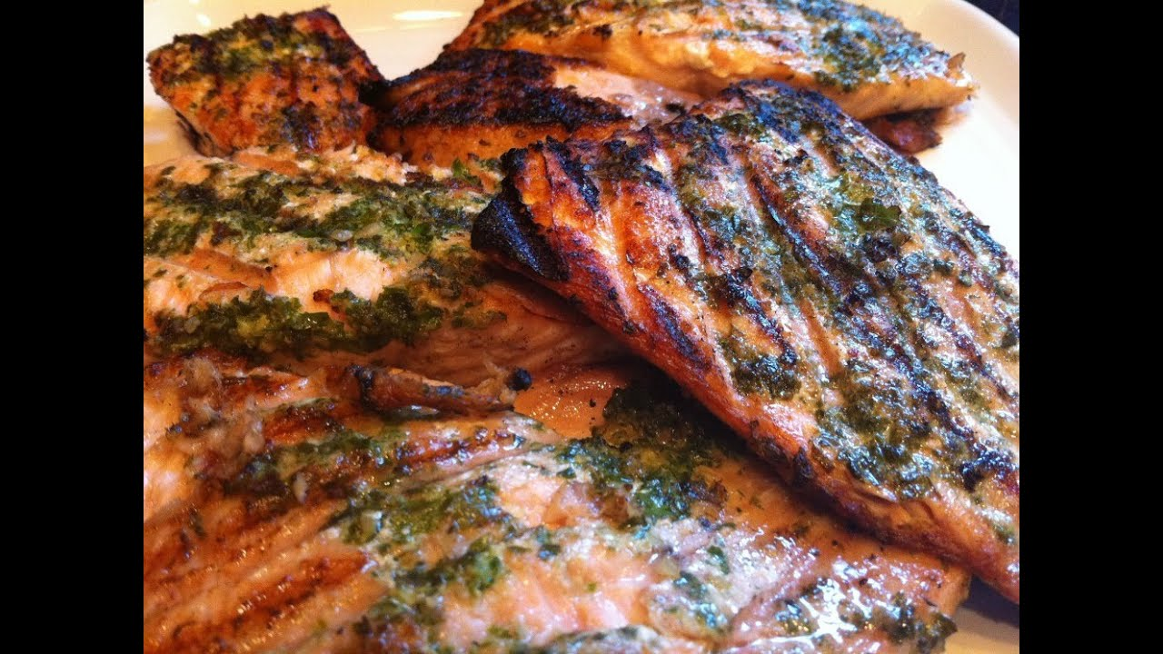 broiled salmon pesto recipes dishmaps stephan s broiled salmon pesto ...