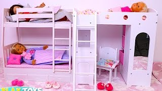 Baby Doll Bunk Bed Bedroom House Toy!  Play Doll Wardrobe Closet and Dress up Dolls!
