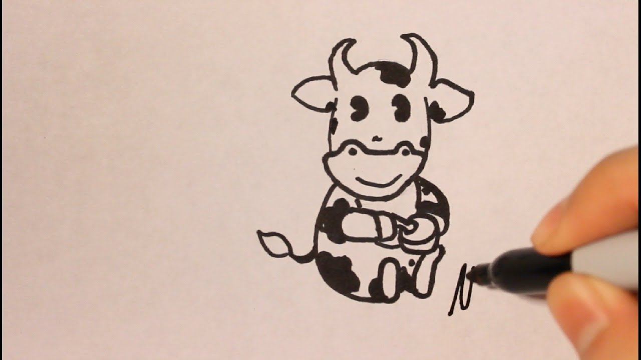 How to draw a cow cartoon step by step easy step by step for Cartoon drawing tutorials for beginners