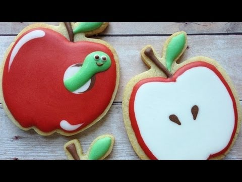 How To Decorate Apple Cookies Using Royal Icing - YouTube