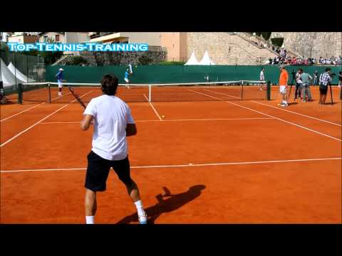 Rafael Nadal-David Ferrer Training 2014-COURT LEVEL VIEW