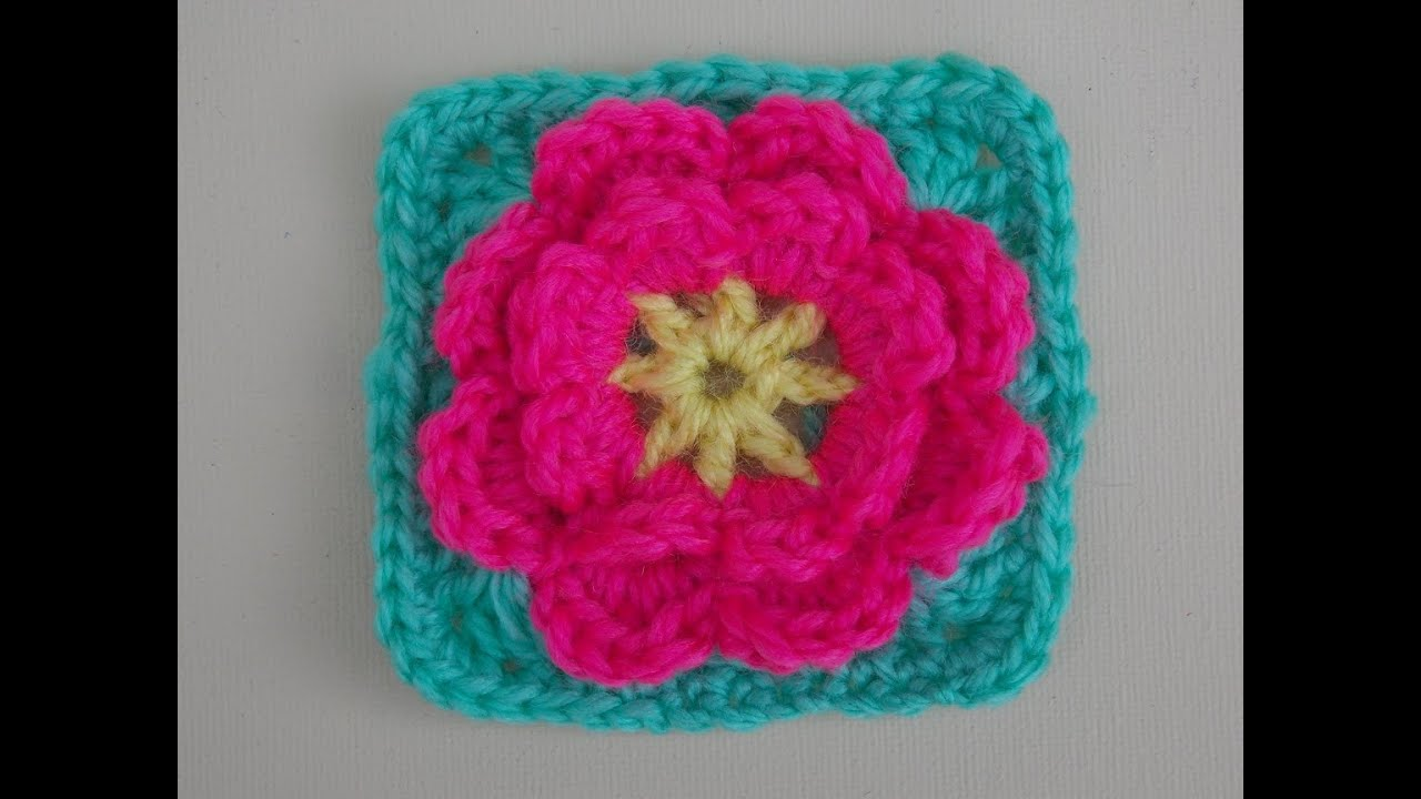 Flower Granny Square Crochet Tutorial - Flower can be made ...