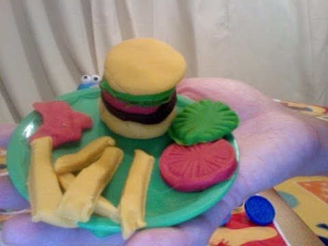 TUTTI FRUTTI Play Dough doh set HAMBURGER & FRIES
