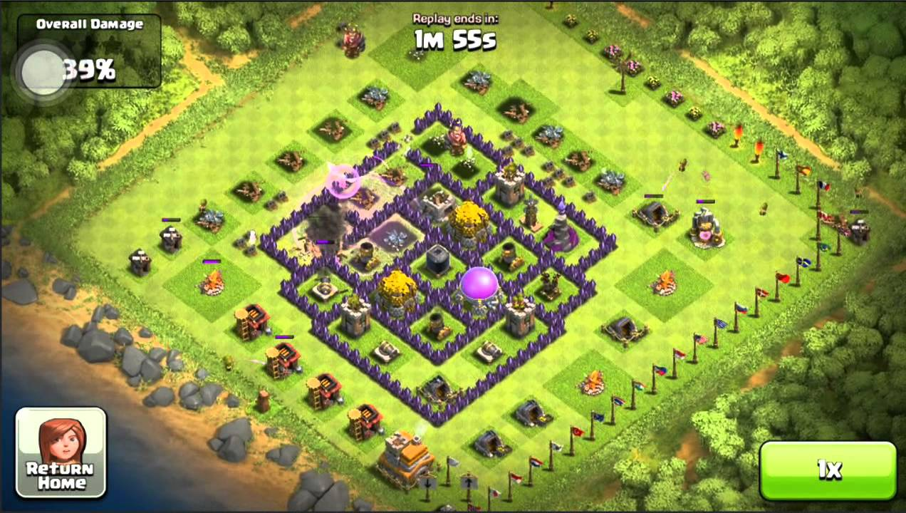 Clash of clans defense replay my max th7 base got raped youtube