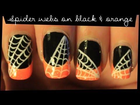 Spider Webs on Black & Orange nail art