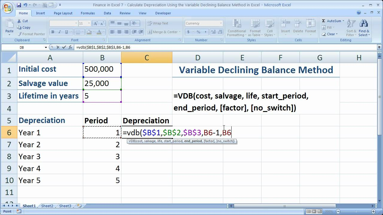 finance in excel 7