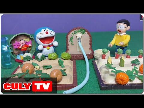 đồ chơi Doremon chế hài - Nobita trồng cây bí đỏ và bóc trứng bất ngờ Chaien đang hát - Doraemon Toy