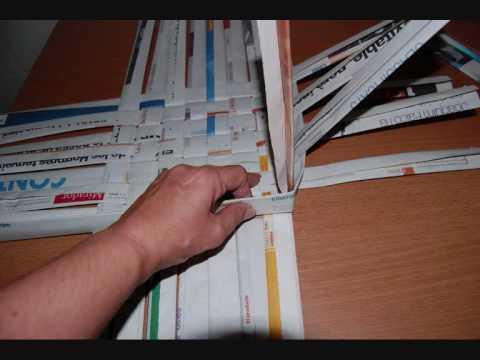 Como hacer cestas de papel de periodico youtube - Cestas de papel periodico ...