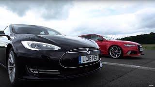 Tesla Model S vs Audi RS6 - Top Gear: Drag Races. Watch online.