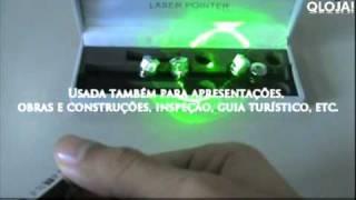Caneta Laser Pointer Verde Green 200mw Com 5 Pontas Qloja