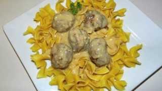 Swedish Meatball Recipe - Served Over Egg Noodles