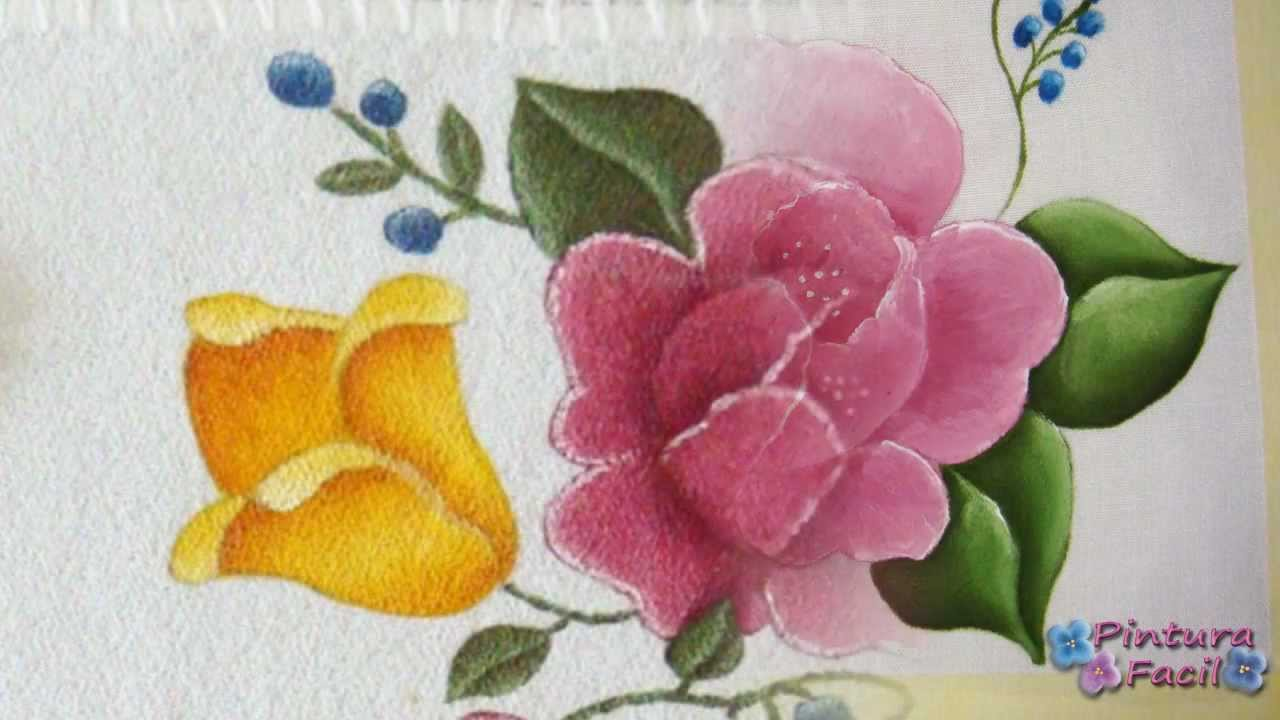 Como pintar en tela flores textile paint manteles - Manualidades de tela ...