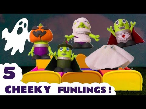 Funny Funlings 5 Spooky Funlings Jumping On The Bed Nursery Rhyme Story for Halloween