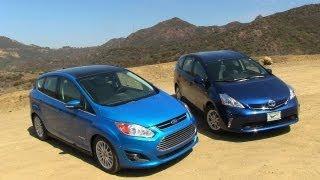 2013 Ford C-MAX vs Toyota Prius V Hybrid Mashup Review videos