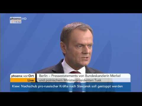 Ukraine-Krise - Merkel & Tusk zur Energiesicherheit am 25.04.2014