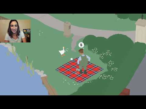 Mean Goose spam HONKS to defend picnic radio! - Untitled Goose Game Funny Clip