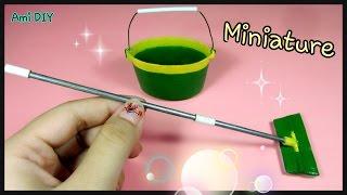DIY How to make a miniature cleaning mop and bucket / Cách làm bộ lau nhà cho búp bê / Ami DIY