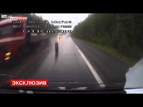 Truck tyre loose on road causes nasty head on collision between a mini