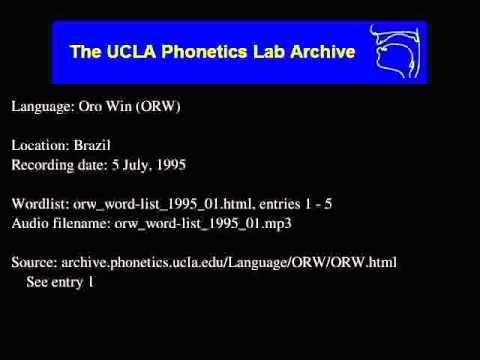 Orowari audio: orw_word-list_1995_01