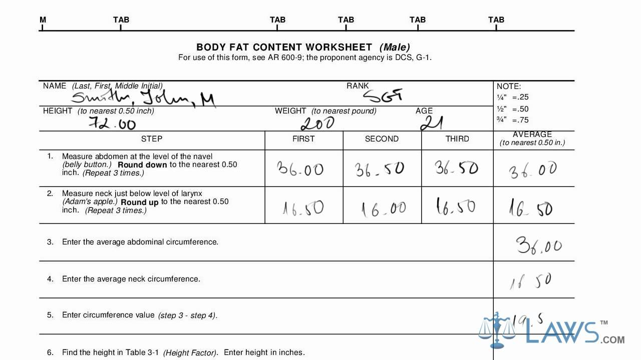 Army Body Fat Form - Daily Sex Book